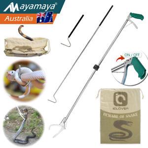"Foldable 47"" Snake Tongs 39"" Hook Heavy Duty Bag Reptile Grabber Handling Tool"