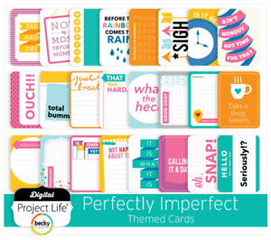 Project Life Themed Cards Perfectly Imperfect Funny Cardstock 40 Count Scrapbook