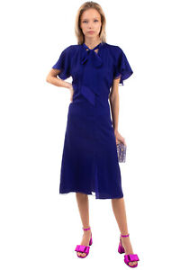 RRP €1625 LANVIN A-Line Dress Size 36 / S Contrast Silk Pussy Bow Made in France