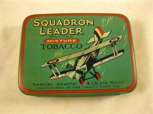 VINTAGE SAMUEL GAWITH & CO ENGLISH TOBACCO TIN SQUADRON LEADER BI-PLANE