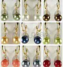 Wholesale 9Colors Fashion South Sea Shell Pearl 12mm Round Beads Earrings AAA+