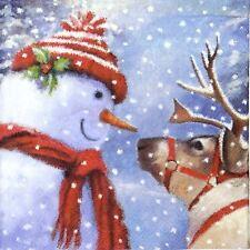 20x Lunch Paper Napkins Serviettes Party, Decoupage - See You Snowman
