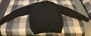 Brooks Brothers Men's Large Dark Grey Pure Cashmere V-Neck Sweater