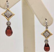 14K TWO TONE GOLD DIAMOND GARNET DANGLE EARRINGS