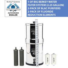Big Berkey 2.25 Gal Water Filter System w 2 Black Filters & 2 Fluoride Filters