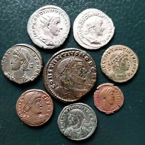 Roman coins large lot with silver