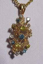 Vintage 14k Nugget Pendant Branch Leafs Mix Gem Stones Diamonds 5.8 Estate