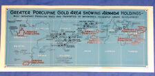 RARE 1944 Porcupine Ontario Canada Gold Mine Mining Map