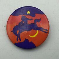 "Crescent Moon Star Bucking Bronco Horse Cowboy Multi-Color 1-1/2"" Pinback R1"