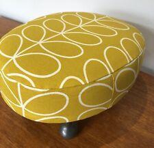 Vintage Upcycled Orla Kiely Footstool - Upholstered Yellow Stem