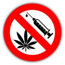 "No Drugs Ban Stop Sign Cannabis Car Bumper Sticker Decal 5"" x 5"""