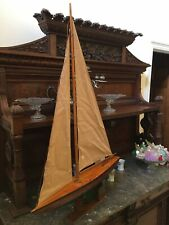 "Vintage Wooden Sailing Pond Boat / Sailboat, Large 29"" long. Original Sails"