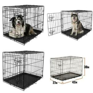 Wired Pet Crate Cage Single-Door Folding Steel Frame Comfortable Containment 42""