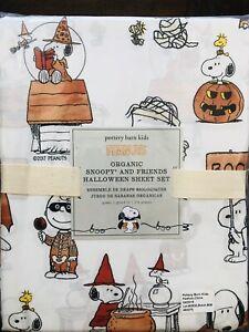 POTTERY BARN KIDS Peanuts Snoopy Halloween Sheet Set Queen New Bedding
