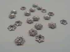 20 Tibetan Style Antique Silver Flower Bead Caps, 7x7x2mm, Hole 1.5mm