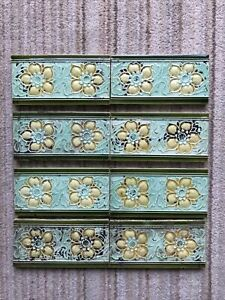 8 Pretty Yellow Flower Victorian Embossed Spacer Tiles 6 In x 3 In