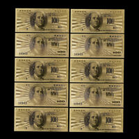 10X US$100 dollar 24k Gold Foil Golden USD Paper Money Banknotes Collections FE