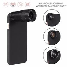 For iPhone 7 9X Telephoto Wide-angle Macro Fisheye Phone Camera Lens Case 5 in 1