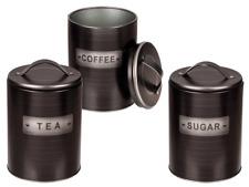 NEW SET OF 3 CANISTERS COFFEE TEA SUGAR CERAMIC BLACK LID TIN STORAGE JAR