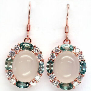 NATURAL 10 X 12mm WHITE MOONSTONE, BLUE CAMBODIA ZIRCON & CZ EARRINGS 925 SILVER