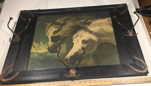 Antique John Frederick Herring Pharaoh's Horses JF Herring Western Hat Coat Rack