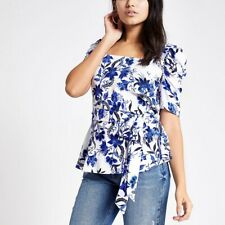 RIVER ISLAND Blue and White Floral Printed Square Neck Top NEW RRP £30