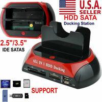 NEW HDD Docking Station IDE SATA Dual USB 2.0 Clone Hard Drive Card Reader USA