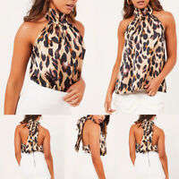 Women Leopard Printed Tops Halter Neck Vest Sleeveless Blouse Club Party Clothes