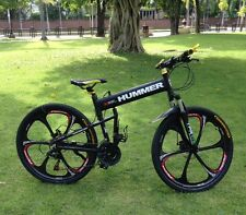 "26""x18"" hummer folding mountain bike bicycle 21 speed magnesium wheel, black"