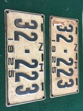 1925 Antique New Hampshire Pair of License Plates