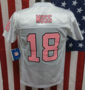 RAIDERS RANDY MOSS YOUTH JERSEY REEBOK GIRLS WHITE PINK NFL FOOTBALL NWT MSRP$55