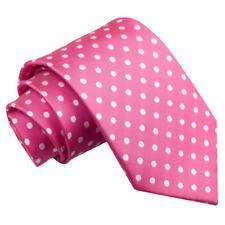 DQT Woven Polka Dot Hot Pink Formal Casual Mens Classic Tie