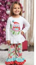 Mud Pie Forest Friends Winter Owl Christmas Collection Tunic Pants  12-18 Months
