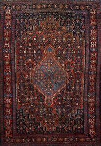Antique Vegetable Dye Bidjar Geometric Area Rug Hand-knotted Oriental 4x5 Carpet