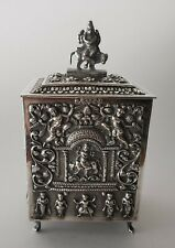 ANTIQUE BURMESE SILVER TEA CADDY - BURMA  XIX/XX