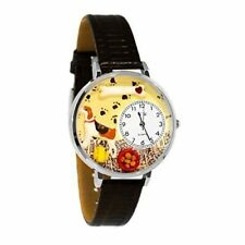 Whimsical Watches Beagle Dog Lover Black Leather Strap Silver-Tone U0130007 NEW!