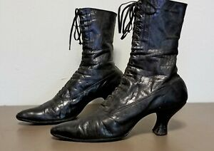 Womens Antique Victorian - Edwardian Black Leather Tall Lace Up Shoes Boots