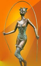 BRONZE STATUE NOUVEAU DANCER, SKIPPING FIGURE HOT CAST FIGURINE GIRL SCULPTURE