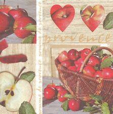 2 Serviettes en papier Pomme de Provence Fruit Decoupage Paper Napkins Apple