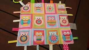 Taggie Blanket , Taggy, security blanket with ribbons Owls minky backing