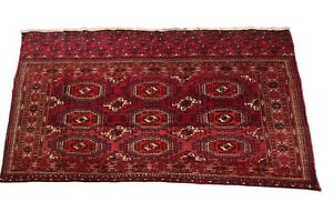 Antique Exceptional Turkoman Tapestry Wall Hanging & Rug 3X5  Red 1910 Boho