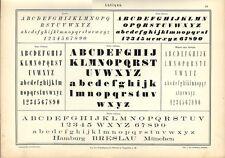 Stampa antica ALFABETI e NUMERI in stile ANTIQUA 1898 Old Print Alphabet Writing