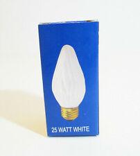 White Chandelier Bulbs Case of 25 BULBRITE 25F15WH 25W Fiesta Style Medium Base