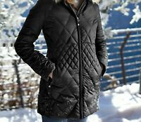 Eddie Bauer Womens Slope Side Down Parka Coat Winter Jacket Womens Small Black