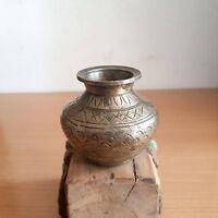 Old 1930's Antique Beautiful Shape Hand Carved Designed Small Brass Water Pot