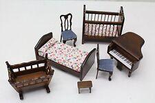 NEW 7 Piece 1:12 Scale Dolls House Bedroom / Nursery Furniture Set Dark Oak Wood
