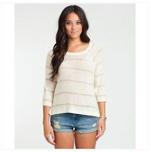 NWT WOMENS BILLABONG MINT TO BE SWEATER $60 M white cap pullover knit