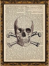 Art Print Vintage Antique Book Page Wall Art - Skull And Bones Jolly Roger