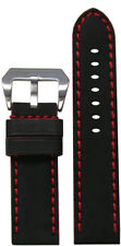 22mm Panatime Mustang 2 Black Leather Watch Band w/Red Stitching 125/75 22/22