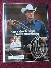 1982 Print Ad Marlboro Man Cigarettes ~ Western Cowboy with Ready Lasso